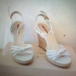 PRADA Sommer-Sandale, aus Lack und Cord, Größe 36,5