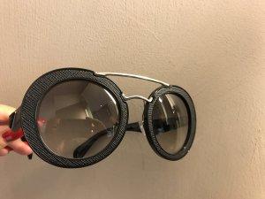 Prada Sonnenbrille Saffiano Echtleder schwarz/silber