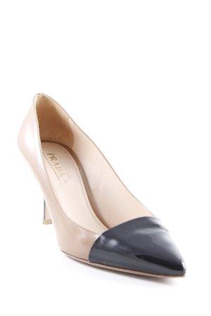 Prada Spitz-Pumps beige-schwarz Elegant