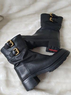 PRADA Stiefel/Biker-Boots, schwarz, Leder, Goldschnallen, Gr.36,5