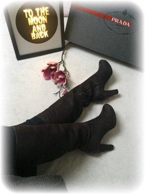 Prada Stiefel, dunkelbraun, Leder, guter Zustand