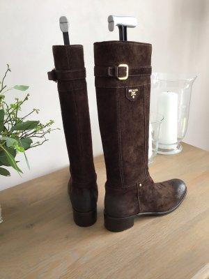 Prada Laarzen met hak zwart bruin-goud