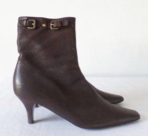 Prada Zipper Booties brown leather