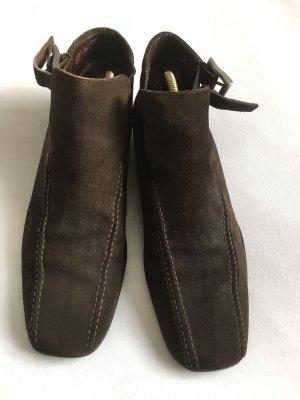 Prada Scarpina di lana marrone-nero Pelle