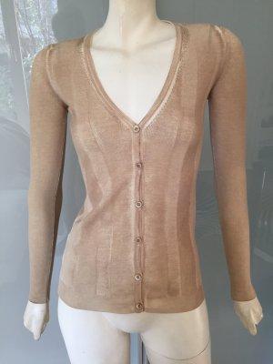 PRADA STRICKJACKE Beige Braun Wolle 34 Wool Cardigan Shirt Gold Brown Top S