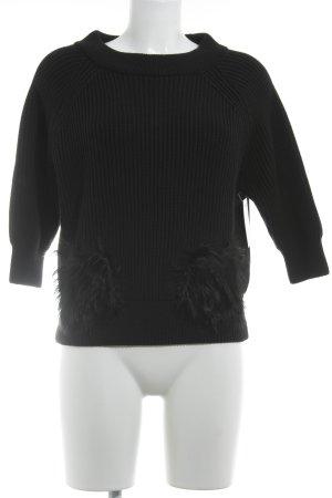 Prada Gebreide trui zwart visgraatmotief Bont afwerking