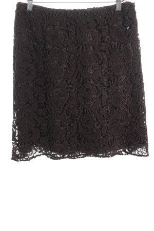 Prada Jupe tricotée brun foncé motif floral style romantique