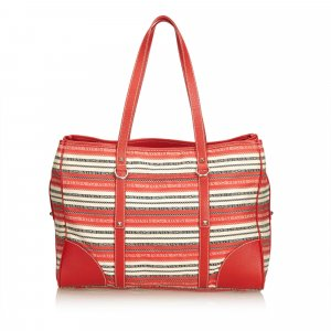 Prada Striped Jacquard Tote Bag