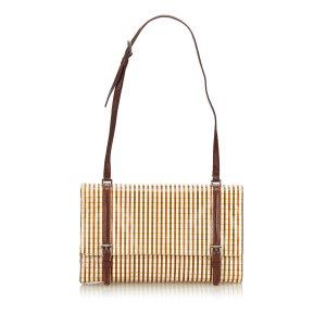 Prada Striped Leather Shoulder Bag
