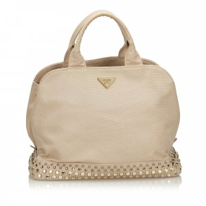 Prada Studded Canvas Handbag
