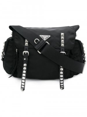Prada Studded Nylon Shoulder Bag