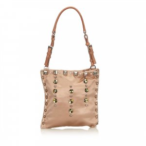 Prada Studded Satin Shoulder Bag