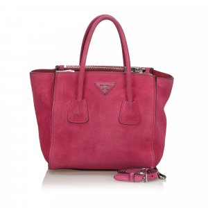Prada Suede City Double Zip Tote