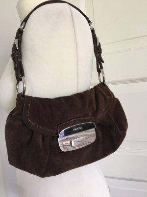 PRADA Superschöne Shoulder Bag Tasche aus dunkelbraunem Wildleder, TOP Zustand