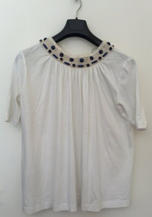Prada T-Shirt mit blauen Steinapplikationen