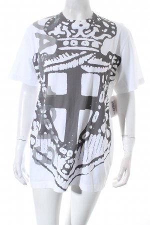 Prada T-Shirt weiß-grau abstraktes Muster Street-Fashion-Look