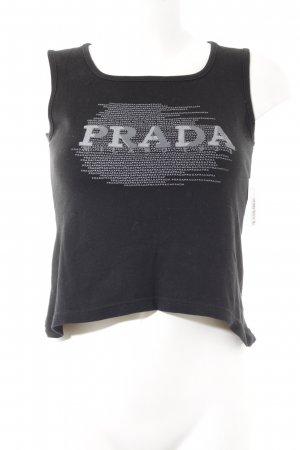 Prada Tank Top black-silver-colored printed lettering athletic style