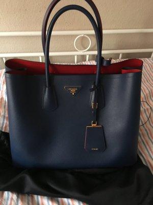 Prada Carry Bag blue-brick red leather