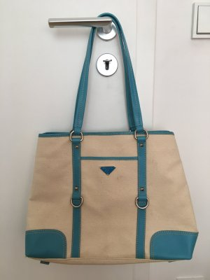 Prada Tasche aus Canvas mit hellblauen Ledereinsätzen