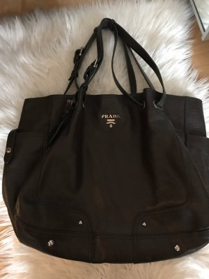 Prada Borsa shopper marrone scuro Pelle