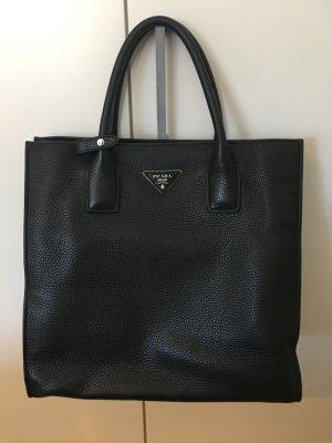 Prada Tasche in schwarzem Kalbsleder mit ID-Karte und Schulterriemen