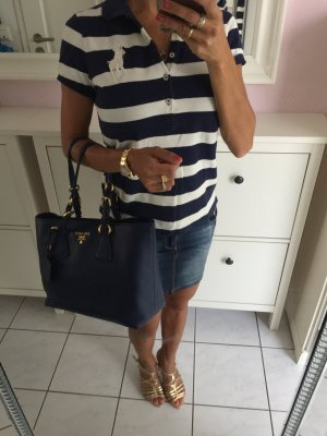 Prada Tasche navyblau blau Handtasche Shopper XL groß gold Damentasche w. neu