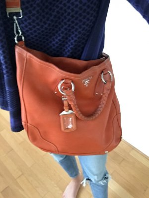 Prada Sac Baril orange fluo-argenté cuir