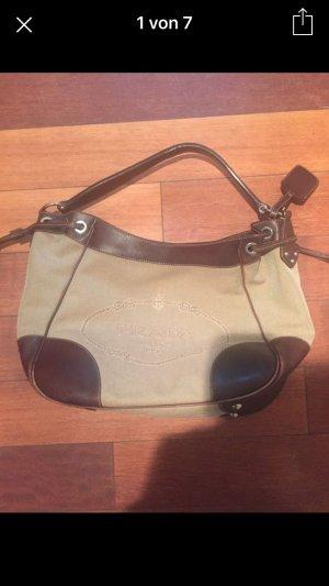 Prada Tasche Original, Leder braun mit beigen Canvas