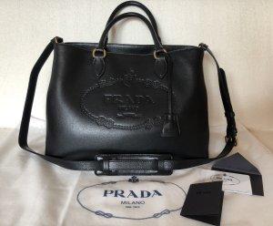 Prada Carry Bag black-gold-colored leather