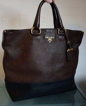 Prada Shopper noir-brun foncé cuir