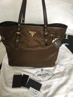 Prada Textil Leder braun Tasche Handtasche