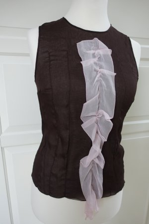 PRADA Top, aus sehr zarter Seide, dunkelbraun und rosa, ital. 44 od. EUR 40