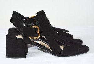 Prada High Heel Sandal black-gold-colored suede