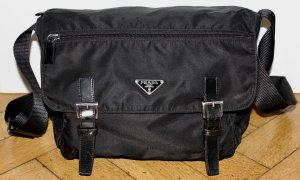 Prada Vintage Schulter Tasche Schwarz tessuto Nylon mit Lederbesatz NEU! Crossbody