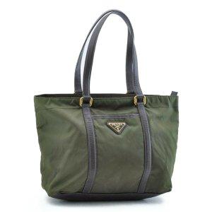Prada Shoulder Bag khaki textile fiber
