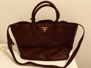 Prada Vitello Daino Garden Tote Bag Bordeaux