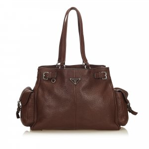 Prada Tote dark brown leather