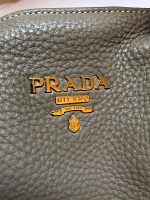 PRADA Vitello Daino Saffiano Leder ShopperHandtasche in TAUPE / GRAUbraun mit GOLD