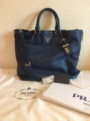 Prada Vitello Phenix blau mit Beutel und Zertifikat