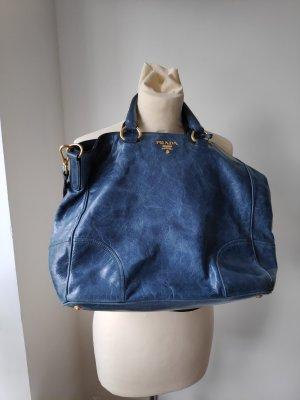 Prada Shopper blue-steel blue leather