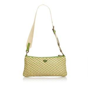Prada Bolsa de hombro verde Cuero