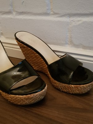 Prada Sandalias con plataforma negro-marrón arena Cuero