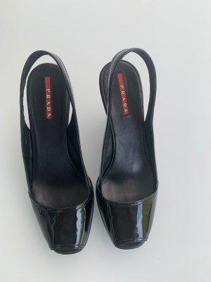 PRADA Wedges - Sandalen, schwarz, Lackleder