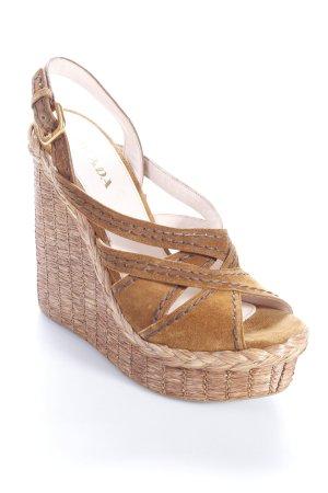 Prada Wedges Sandaletten braun Boho-Look