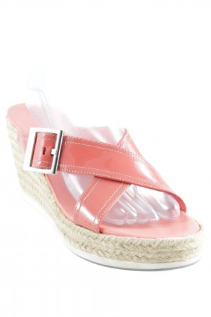 Prada Wedges Sandaletten lachs-hellbeige Lack-Optik