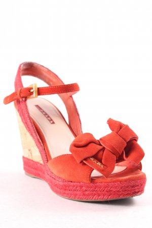 Prada Wedge Sandals red-beige elegant