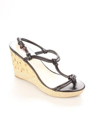 Prada Wedges Sandaletten schwarz-beige klassischer Stil