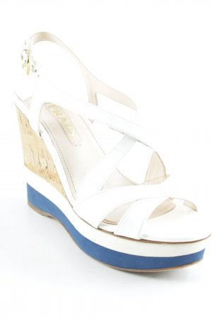 Prada Wedge Sandals white-dark blue elegant