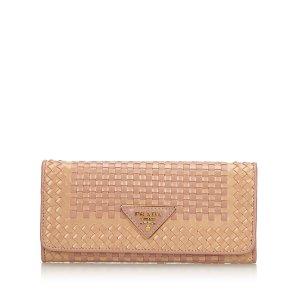 Prada Woven Madras Long Wallet