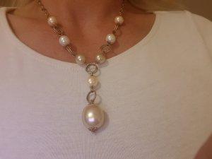 Prächtige  Kette  aus 925er Silber und Mallorca-Perlen...Wie NEU!!!
